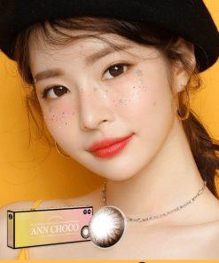 A Asian girl wear Ann365 Ann Choco - Daily color contact lens